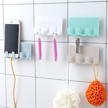 Paste wall-mounted mobile phone charging bracket Bathroom wall without trace 4 hook storage rack household items
