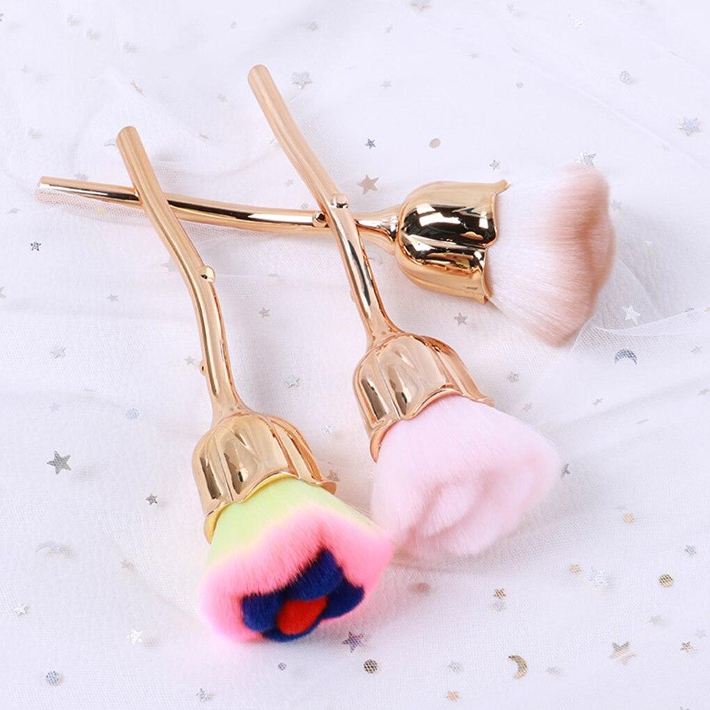 Nail Art Dust Brush Manicure Rose Head Design Soft Bristles Blush Powder Brush Manicure Tools Fashion Gel Nail Accessories