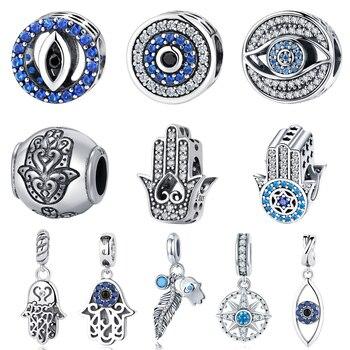 BISAER 925 Plata de Ley encanto Ojo Azul suerte Fátima mano Hamsa mano ojo colgante encanto ajuste PAN encanto pulsera DIY joyería