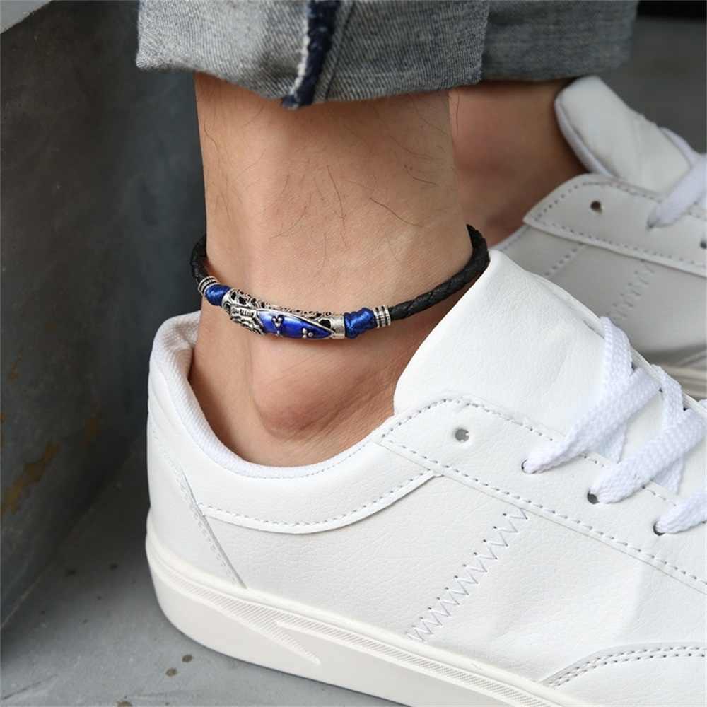 Lina piórka koraliki Anklet Unisex bransoletka na kostkę mężczyźni kobiety moda plaża bransoletka na nogę biżuteria akcesoria 22 CM regulowana lina