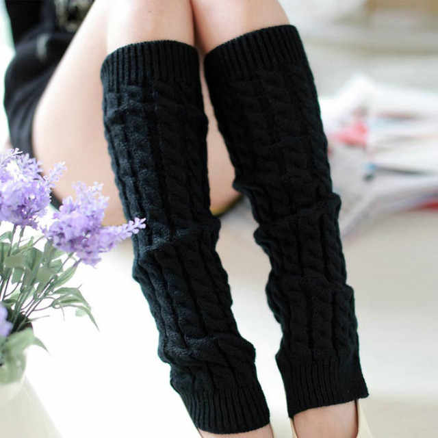 Sıcak moda bacak ısıtıcısı s kadın sıcak diz yüksek kış örgü katı tığ bacak ısıtıcısı çorap sıcak bot paçaları Beenwarmers uzun çorap