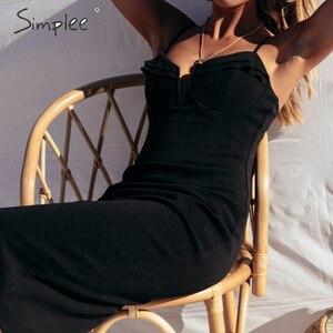 Image 3 - Simple Sexy v neck bodycon dress Slim fit high waist sleeveless women party dress Elegant ladies sheath summer party dress