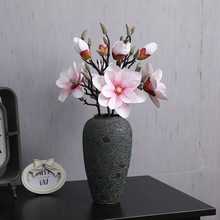 2 Heads High Quality 3D Silk Magnolia Branch Artificial Flowers Fake Flower Arrangement for Hotel Home Decoration Accessory