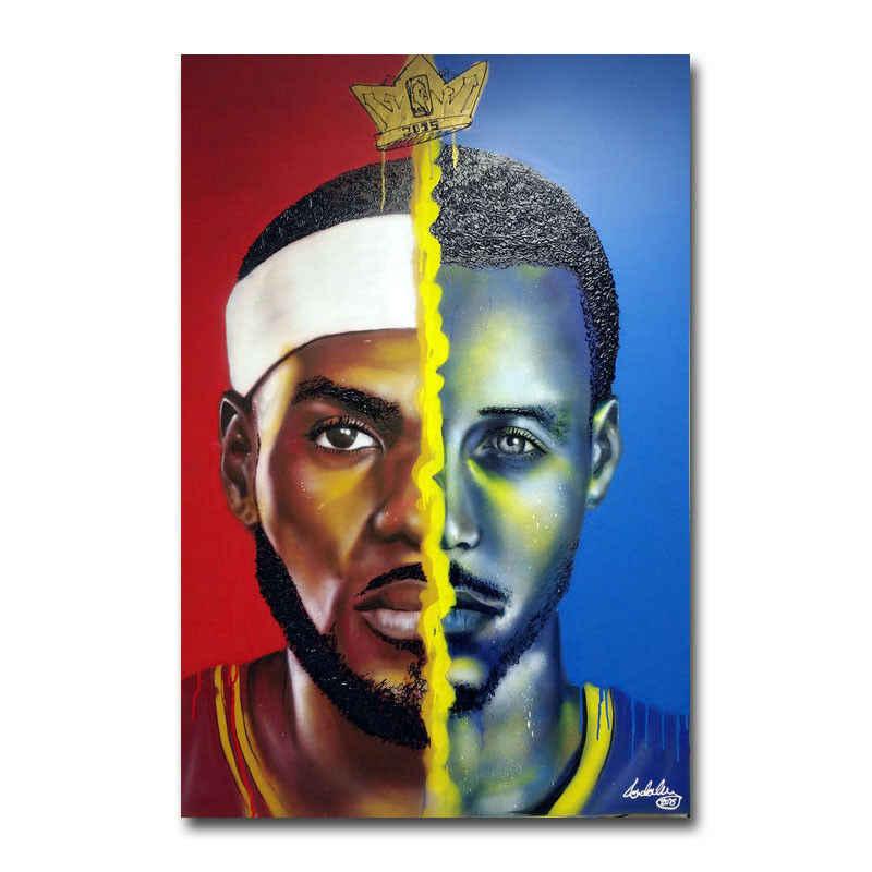 20A393 LeBron James VS Stephen Curry Basketball Star Art Poster Silk Deco