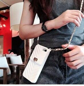 Image 1 - Crossbody carteira caso capa para iphone 11 12 pro xs max xr x 10 8 7 6s plus slot para cartão bolsa capa com alça de ombro longa corrente