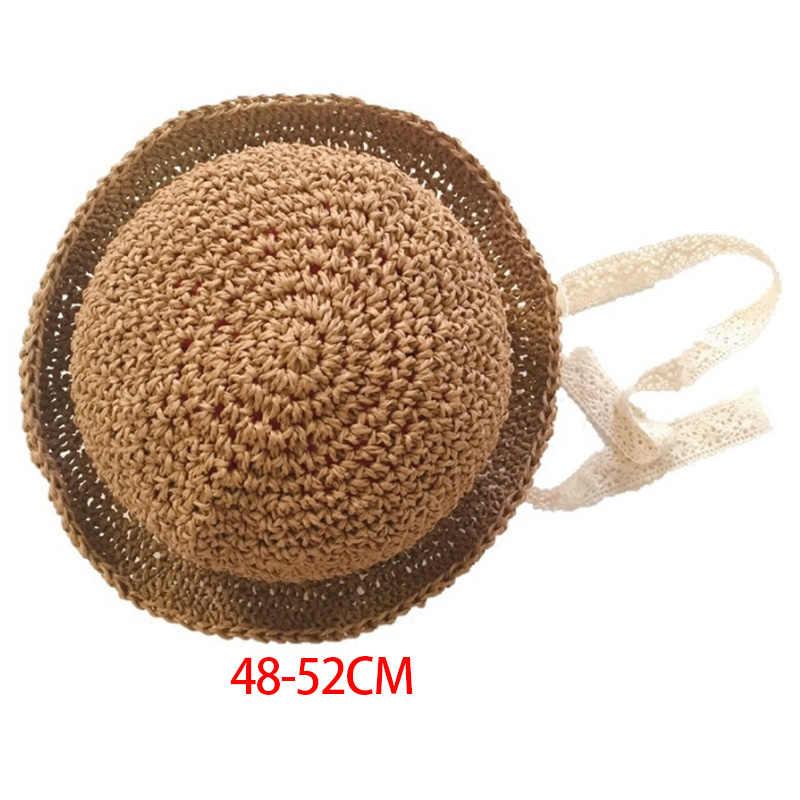 Handmade ฤดูร้อนเด็กหมวกลูกไม้ Windproof สายไฟ Beach Sun Hat หมวกปีกกว้างน่ารักฟลอปปี้หมวกสีกากี