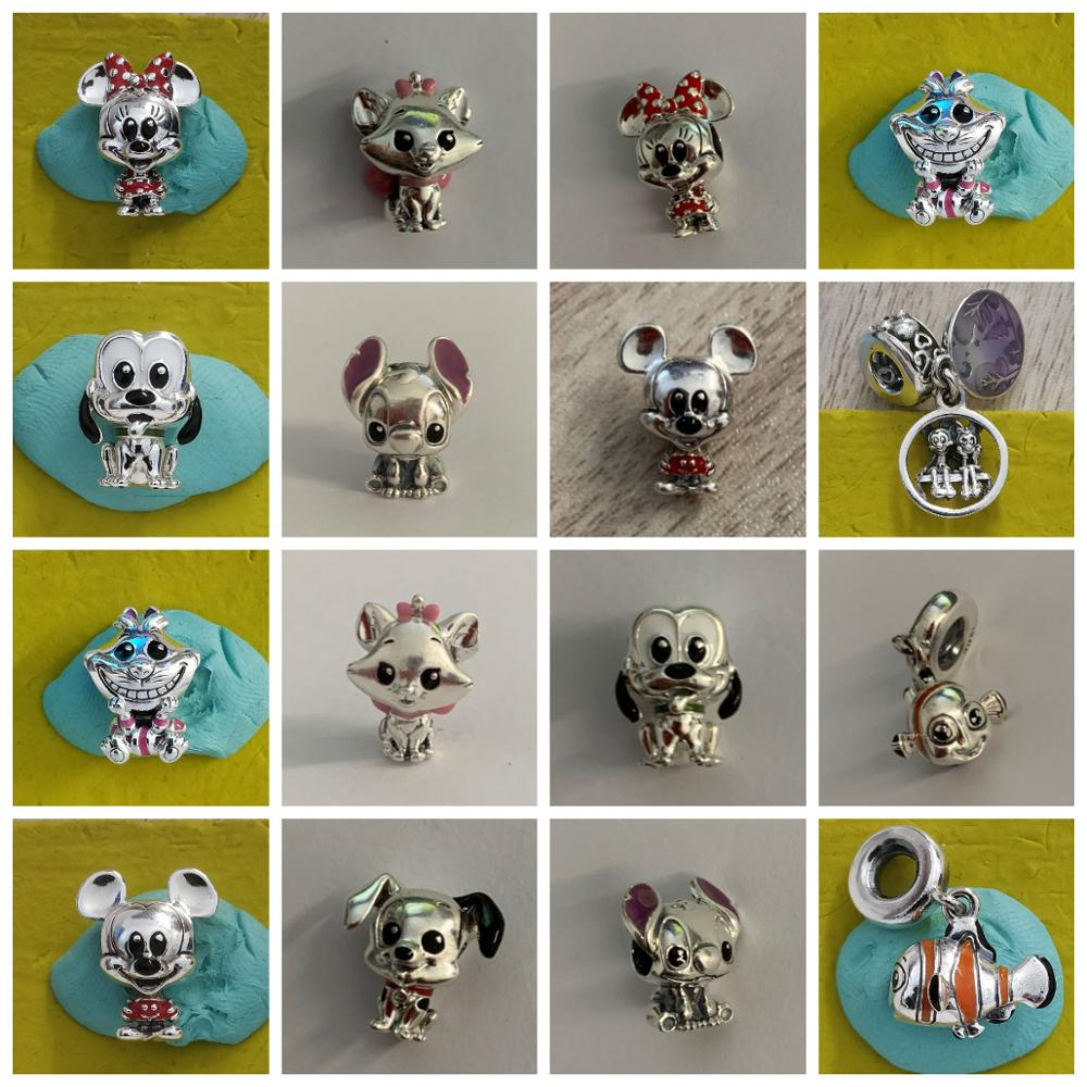 High Quality Original 925 Sterling Silver Disy Cartoon Animal Charm Beads With Original Engraving Suitable For DIY Bracelets
