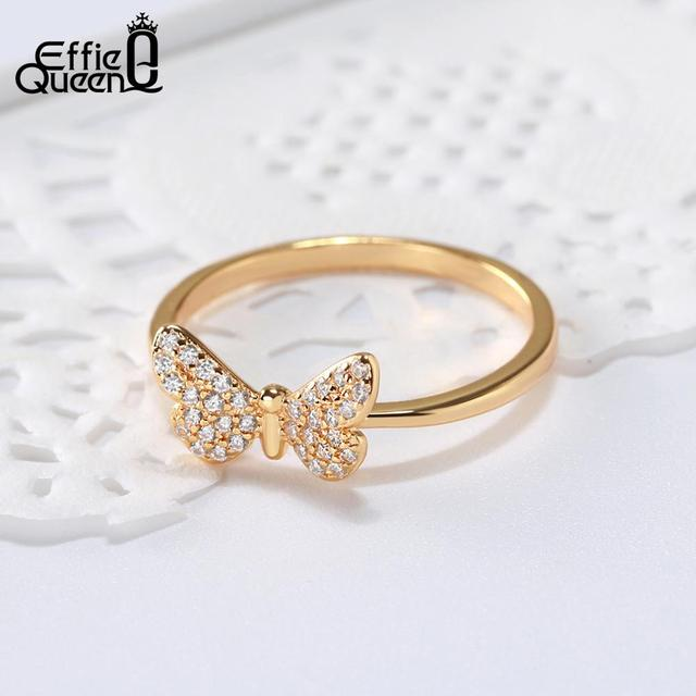 Effie Queen Elegant female Wedding Ring Real 925 Sterling Silver Rings Butterfly Shape With AAA Zircon Jewelry Gift BR59 1
