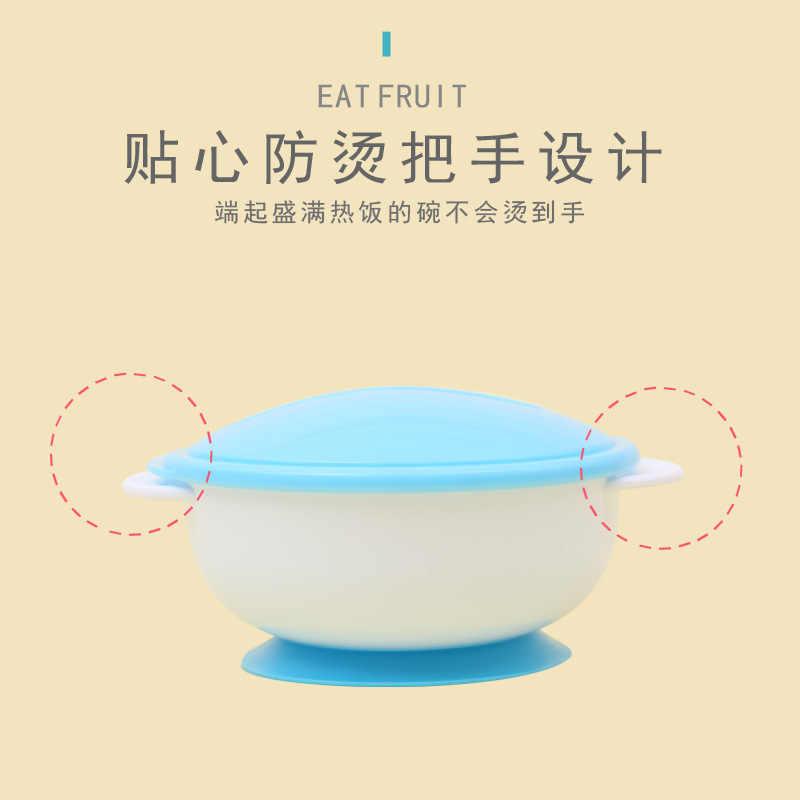 3 sztuk/zestaw dziecko obiad miski do karmienia naczynia dla dzieci naczynia stołowe przyssawka data data powrotu (miska z łyżka z czujnikiem temperatury żywności dla niemowląt