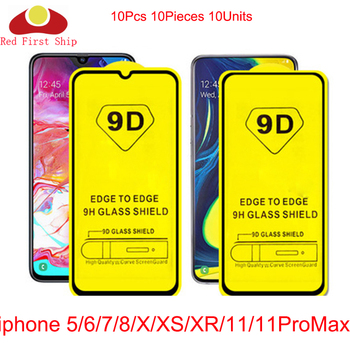 10Pcs 9D Tempered Glass for iPhone 11 Pro Max Xs Max Xr X 6 6S 7 8 Plus 5 5S SE Full Cover Screen Protector for iPhone 11 7 8 XS