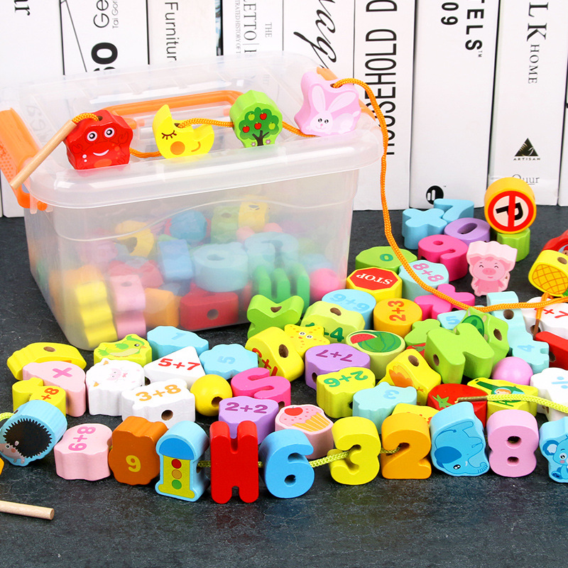 Kindergarten Beaded Bracelet Sub-Toy Children Rope Wear Early Childhood Handmade DIY GIRL'S And BOY'S Baby Building Blocks