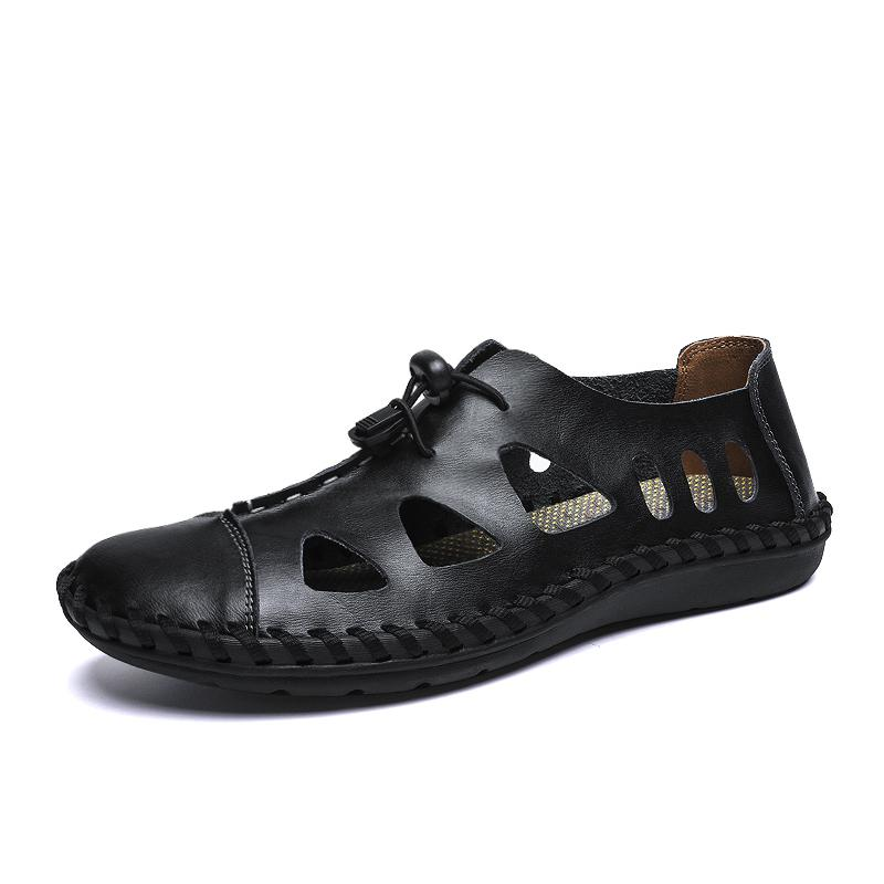 2019 New Summer Sandals Men Breathable High Quality Genuine Leather Sandals Man Flats Fashion Casual Beach Men's Shoes Size 48 2