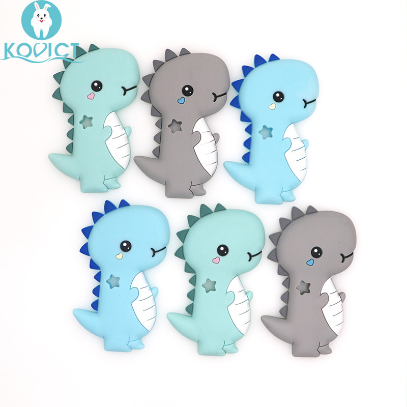Kovict BPA Free 5/10pcs dinosaur Silicone Baby Teether rodent Baby Teething Toys Chewable Animal Shape Baby Products