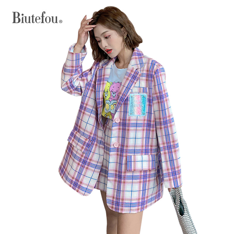 2020 Spring And Summer Plaid Ins Jacket New Arrival Women Long Sleeve Thin Blazer
