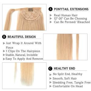 """Image 2 - Neitsi ישר שיער טבעי קוקו 100% טבעי מכונת עשה רמי קליפ פוני אמיתית זנב שיער הרחבות 12 """"16"""" 20"""""""