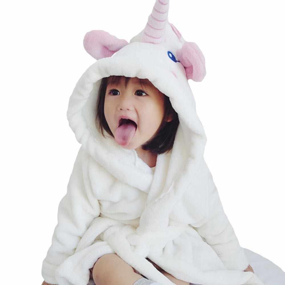 Baby Kids Mickey Minnie Bathrobe Hooded Bath Robe Boys Girls Nightwear Sleepwear