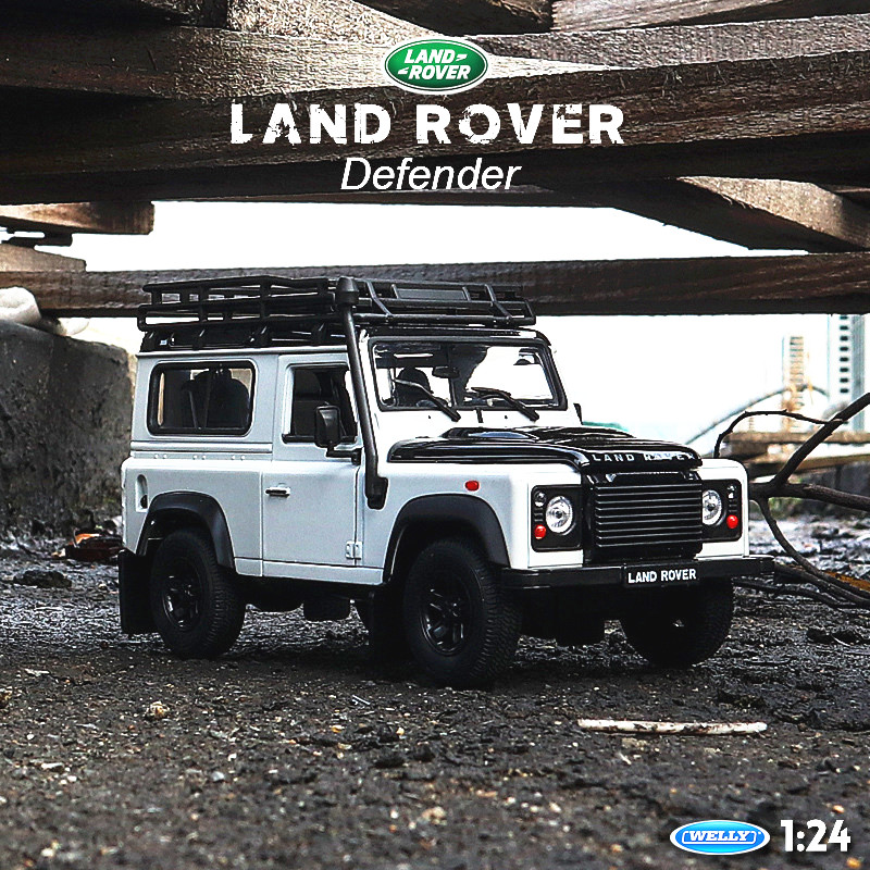 Welly 1:24 Land Rover Defender White Car Alloy Car Model Simulation Car Decoration Collection Gift Toy Die Casting Model Boy Toy