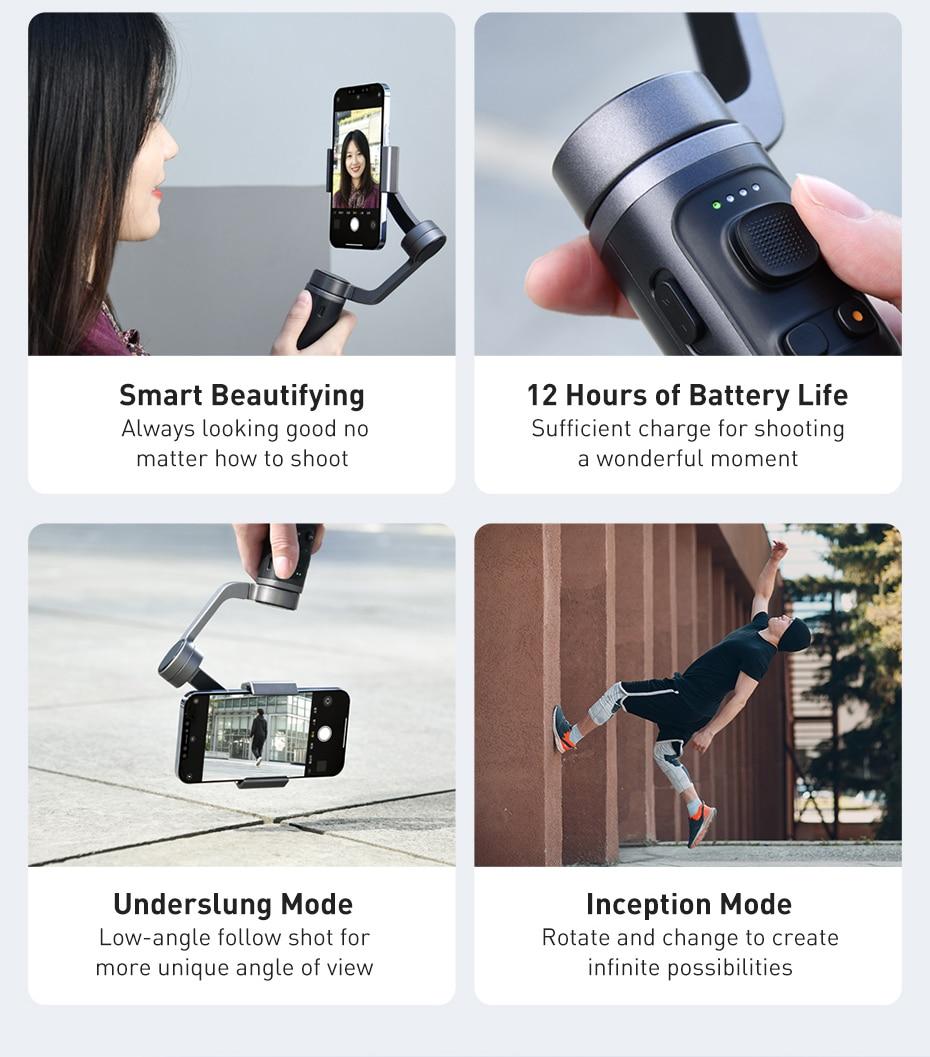 Baseus Control Smartphone Handheld Folding Gimbal Stabilizer 9