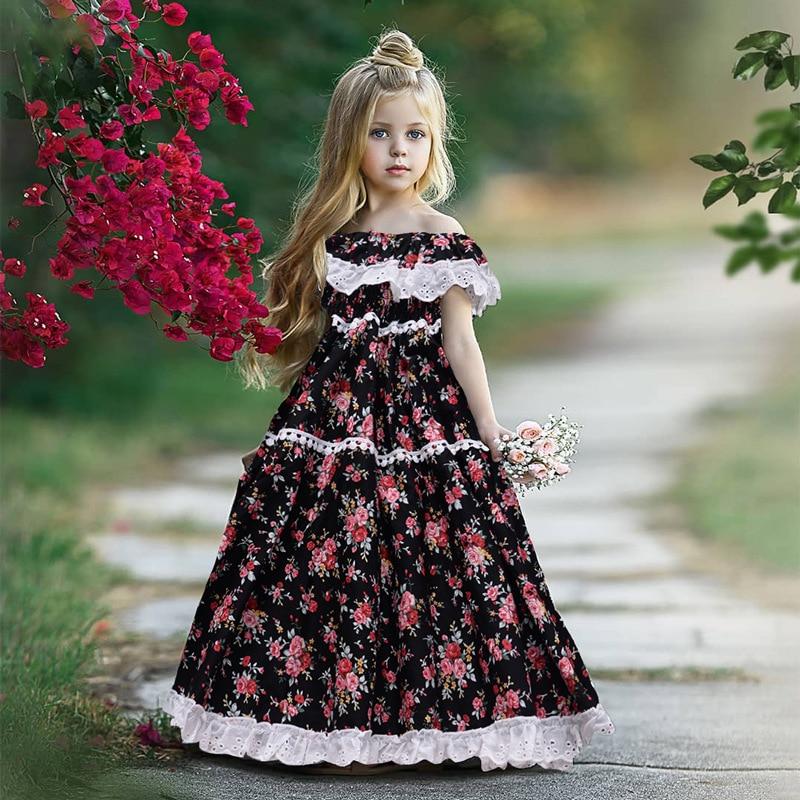 EACHIN Girls Dresses Summer American-Style Princess Dress Flower Long Dresses Baby Girls Children's Lace Birthday Party Dress