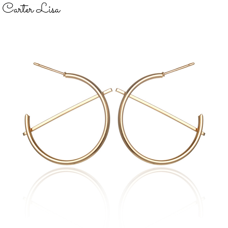 CARTER LISA Gold Silver Charm Hoops Earrings Minimalist 30mm Thick Tube Round Circle Earrings For Women Earrings Fashion Jewelr