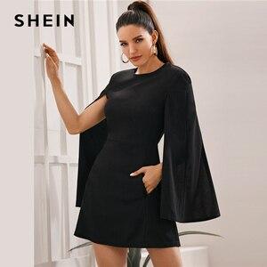 Image 2 - SHEIN rękaw dzwonek kieszeń boczna sukienka bez paska kobiety jesień solidna O neck krótkie dopasowane eleganckie sukienki Highstreet