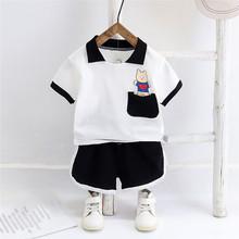 Letnie zestawy ubrań dla niemowląt Boys Baby dziewczyny ubrania dla niemowląt koszulka z krótkim rękawem topy krótkie spodnie stroje dla dzieci ubrania dla dzieci zestaw tanie tanio LONSANT COTTON Poliester Moda O-neck Swetry REGULAR Pasuje prawda na wymiar weź swój normalny rozmiar Suknem Drukuj Unisex