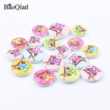 50Pcs Mixed Animal Owl Painted Wooden Buttons For Kids Clothing Sewing Scrapbooking Decoration DIY Button Accessories 15/20mm