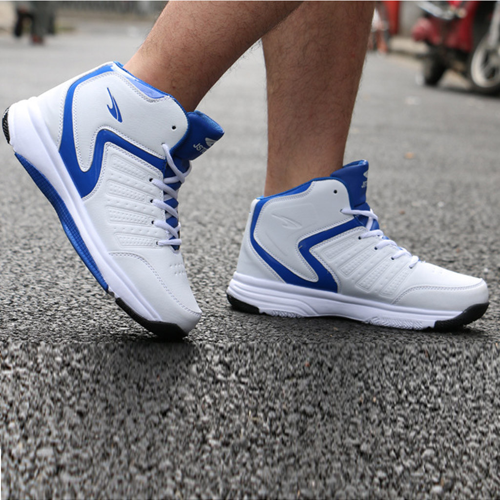 Fashion Men's High-top Breathable Sports Shoes Round Head With Basketball Shoe Outdoor Non-slip Shock-absorbing Shoes