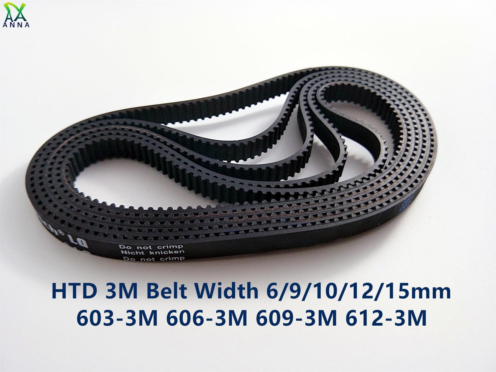 Courroie de synchronisation HTD 3M C = 603 606 609 largeur 612 dents 6/9/15mm 201 202 203 HTD3M synchrone 204-3M 603-3M 606-3M 609-3M 612 M