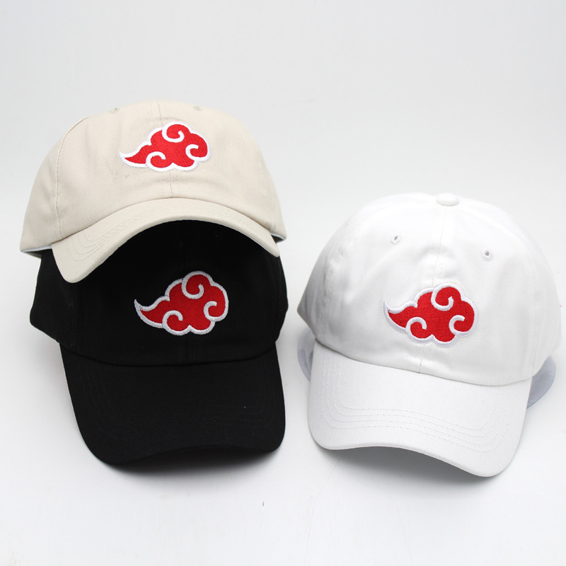 Anime NARUTO Akatsuki Cosplay Hats Uchiha Itachi Cotton Red Cloud Embroidery Caps Baseball Cap Travel Outdoor Hat Adjustable New