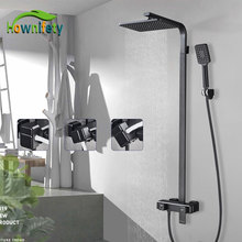 Combo-Set Shower-Head Bathroom Rainfall Chrome Mixer Wall-Mount Black Cold Hot Or Tap-Europen-Type
