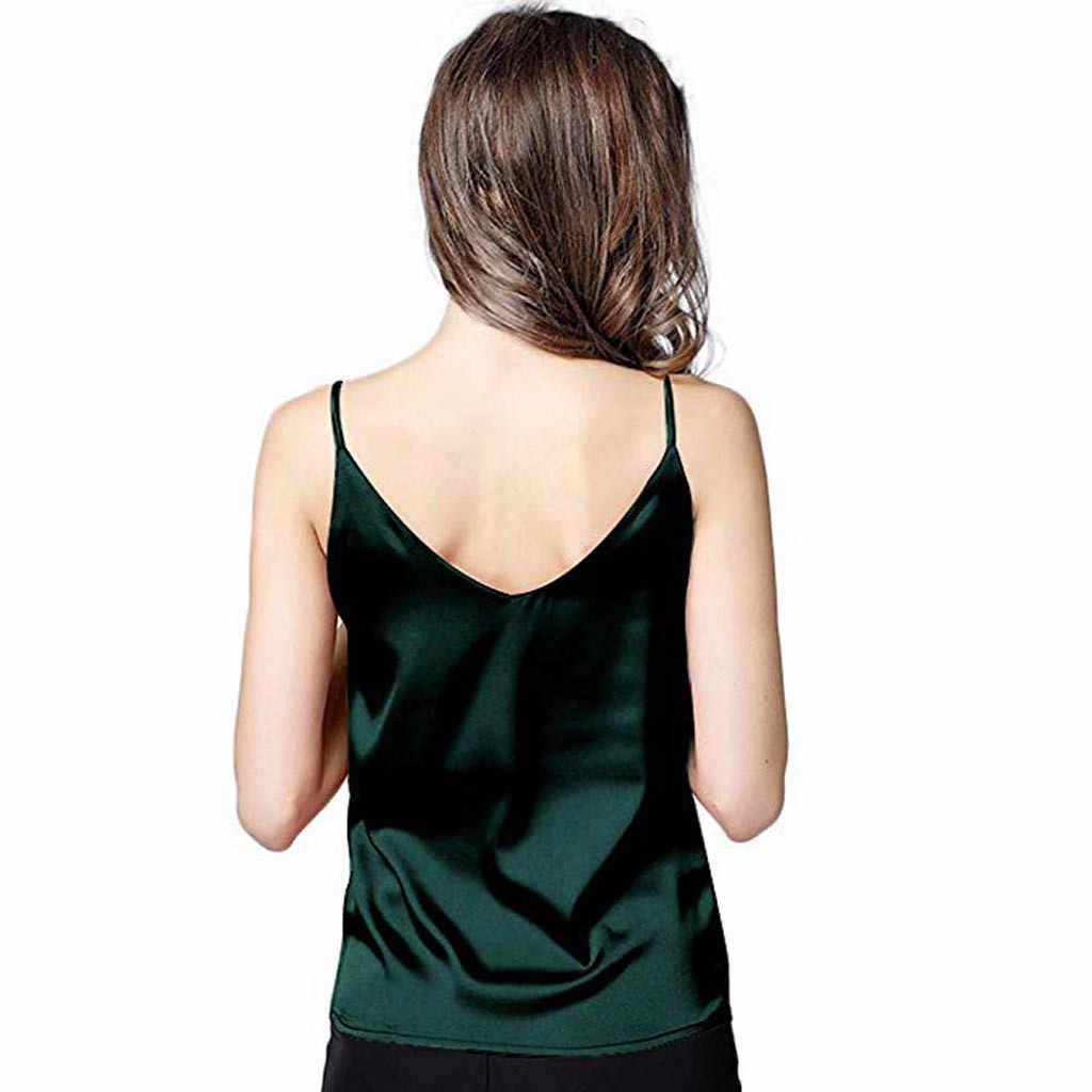 ฤดูร้อนผู้หญิงเซ็กซี่สุภาพสตรี Camisole ด้านล่างเสื้อ V คอ Cropped Feminino หญิงเสื้อยืดซาติน Tank Top Crop Roupas