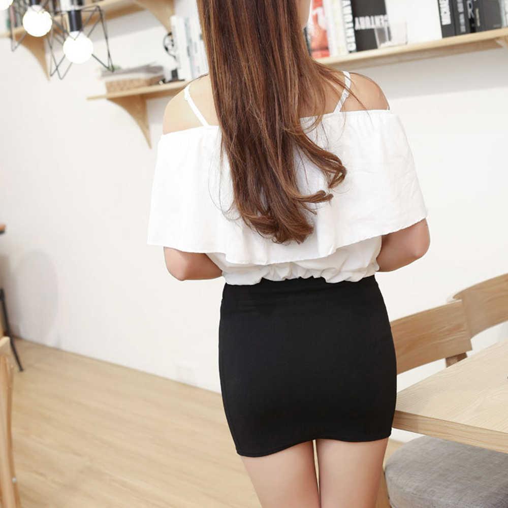 Suzhan 2019 primavera moda mujer Mini faldas Sexy vendaje Clubwear alta cintura lápiz falda Oficina faldas blanco rosa caqui S-4XL