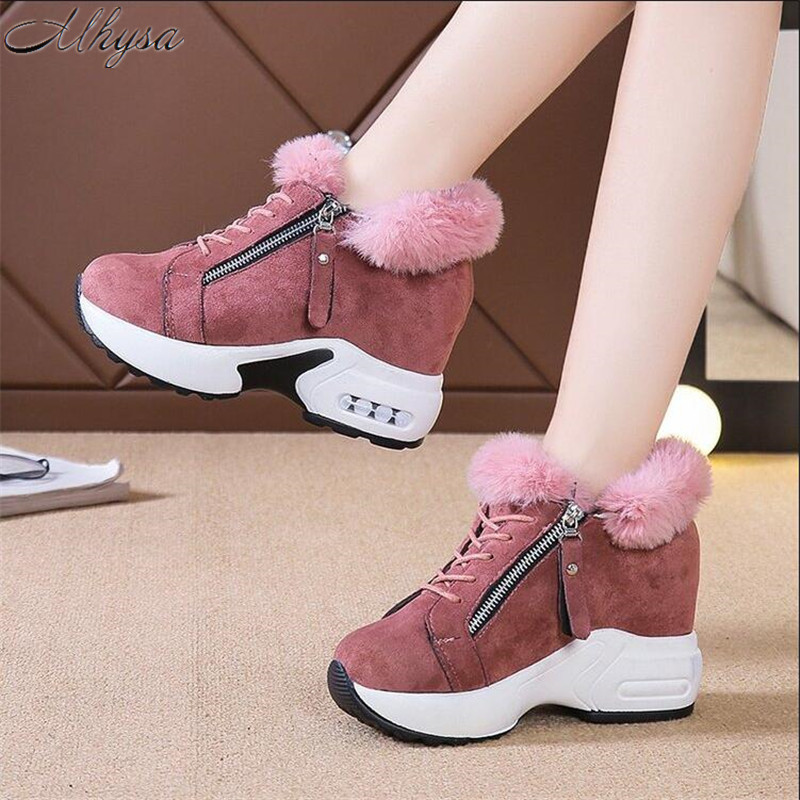 Mhysa 2019 Winter High Heel Lady Casual Shoes Wedges Women Sneakers Leisure Platform Shoes Breathable Slip On Women Shoes L1089
