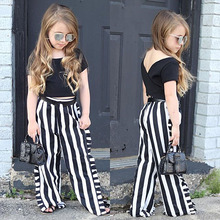 Toddler Kids Baby Girls Clothes Short Sleeve Round Neck Solid Pullover Backless Tops Striped Ruffle Pants 2pc Cotton Outfits summer baby kids girls clothes 3d flower print sleeveless ruffle round neck pullover t shirts denim hole pants 2pc cotton set