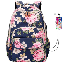 Casual Women Backpacks Waterproof Nylon Bag For Teenagers Student bookags USB Lady's Daily Backpack Printing Flowers Knapsack
