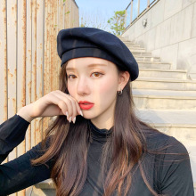 Simple Basic Solid Color Berets Women Wool Vintage Caps Female Warm Bonnet Walking Shopping Cap Ladies Young Girl