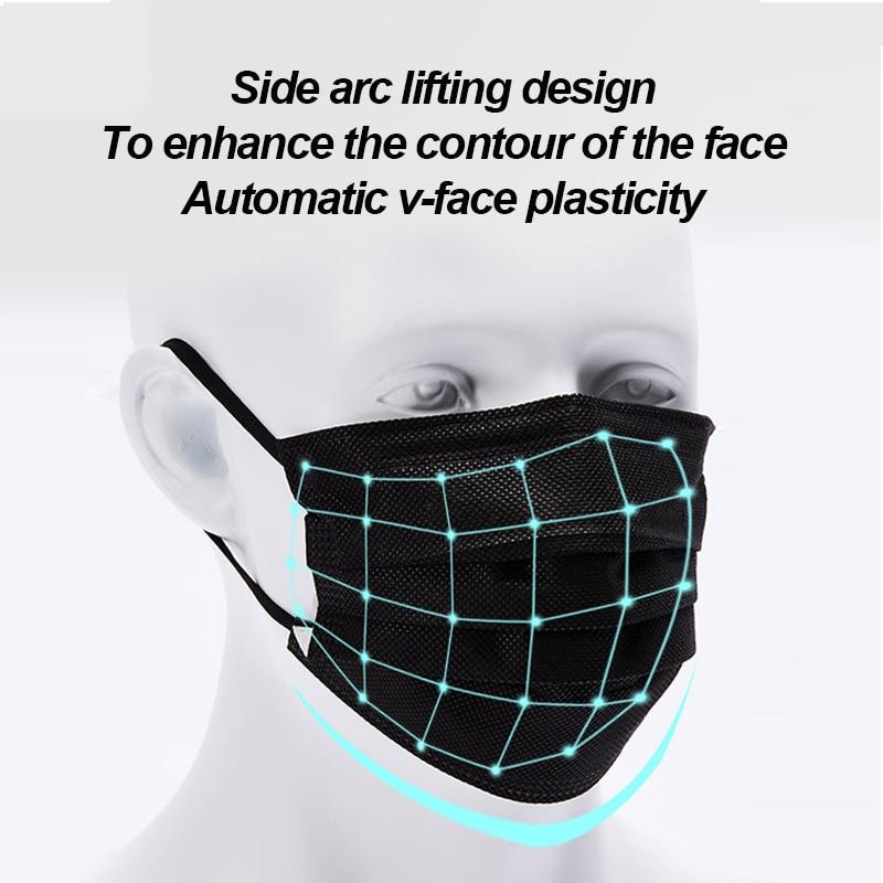 Free-shipping-Black-3-layer-Mask-10-20-50-100pcs-Face-Mouth-Masks-Melt-Blown-Cloth (2)