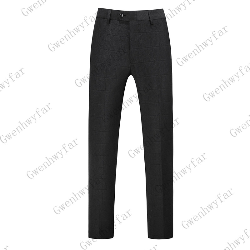 Gwenhwayfar, мужские синие клетчатые брюки, деловой костюм, брюки, деловые повседневные облегающие брюки, Классический Клетчатый костюм, брюки для свадьбы - Цвет: black plaid