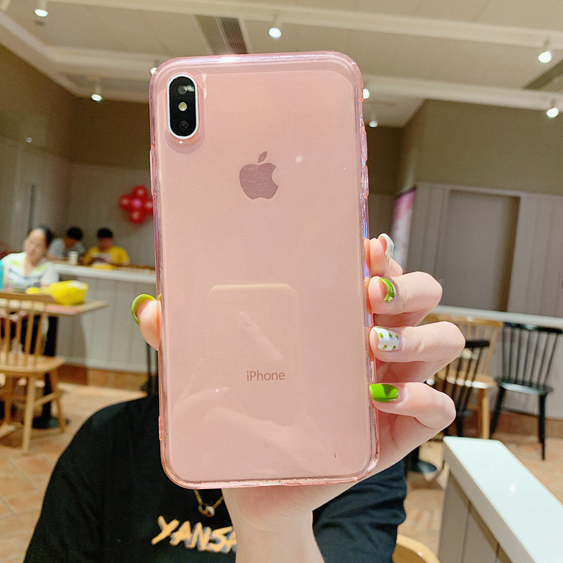 XBXCase Rose Gold Candy Color Soft TPU <font><b>Case</b></font> for <font><b>iPhone</b></font> 7 6 6S 8 Plus XR <font><b>X</b></font> <font><b>Xs</b></font> Max 11 Pro Max Anti Knock Glossy Clear Phone Cover image
