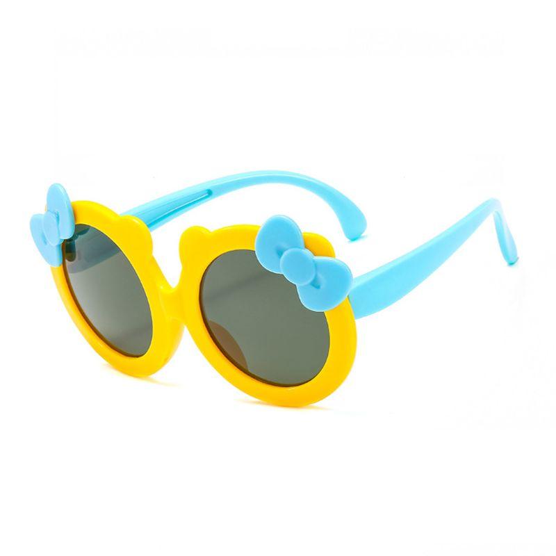 Детские поляризованные солнцезащитные очки для девочек, милые Солнцезащитные очки с бантом, силиконовые защитные очки UV400 - Цвет линз: Y