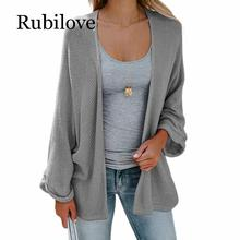 Rubilove Bat Sleeve Casual Cardigan Women Sweaters Fashion Autumn 2019 Woman Loose Coat Knitted Cardigans Long bat sleeve geometrical cardigan