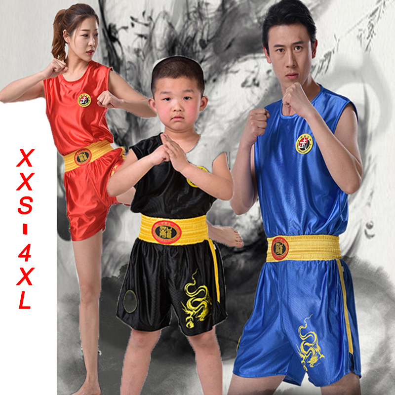 Dragon 110-190cm Toddlers Kids Adults Muay Thai MMA Boxing Shorts+Tops TShirts Sanda Grappling Sparring Uniforms Outfits