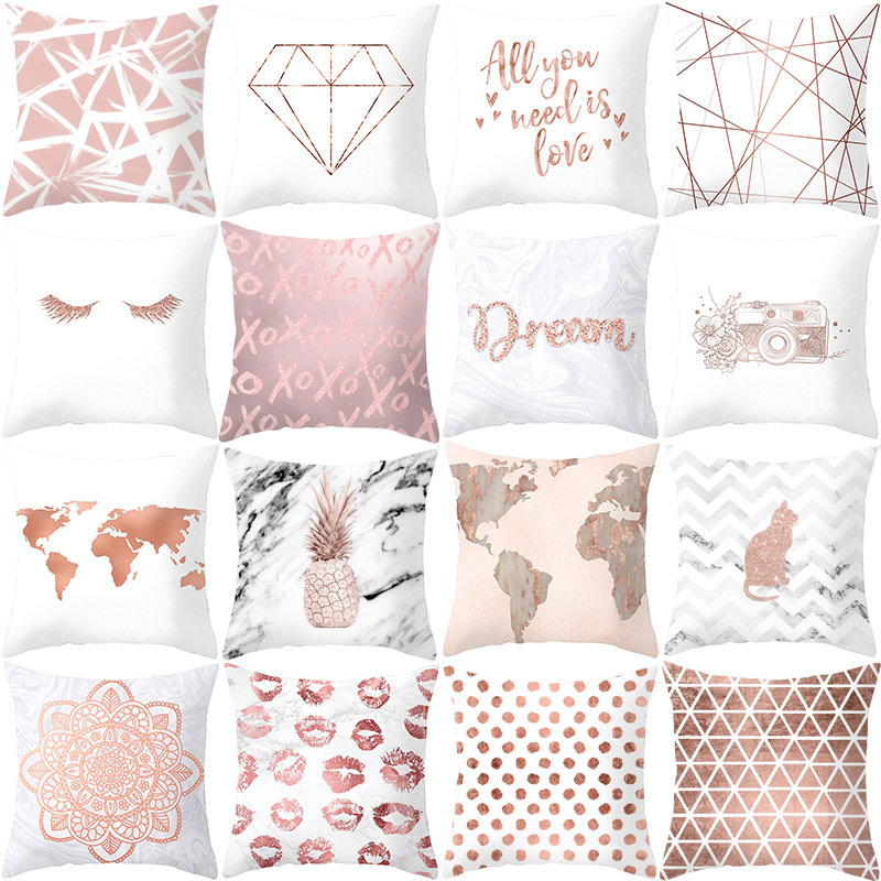 Simple Geometry Style Polyester Peach Skin Home Textiles Pillow Case Bed Throw Decorative 45x45cm