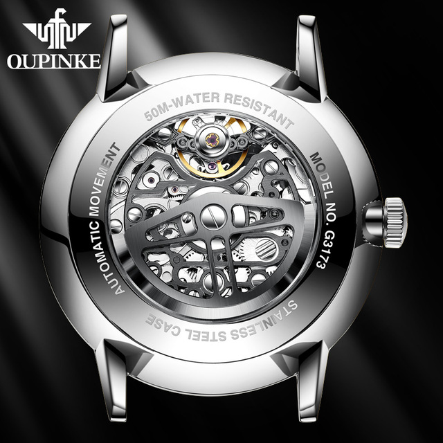 OUPINKE Swiss Tourbillon Skeleton Mechanical Watch 3