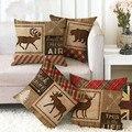Набор подушек в винтажном рождественском стиле, мягкая декоративная наволочка для дивана, кровати, с принтом лося, с животным принтом, аксес...