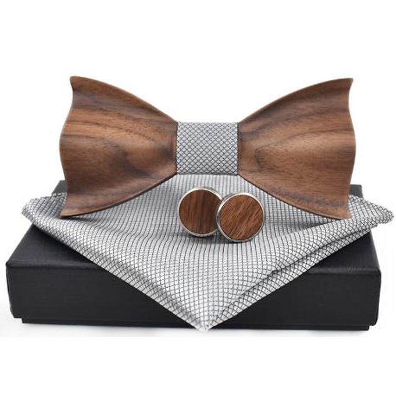 3D Wooden Tie Square Cufflinks Fashion Wooden Bow Tie Wedding Handmade Wooden Tie Set