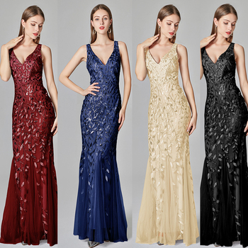 2020 Silver Gray Elegant Fashion Evening Dresses Sexy Simple V Collar Open Back Sleeveless Embroidered Beads Fishtail Dress Gown