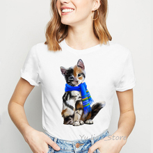 цены на Cat wearing a scarf print tshirt femme summer 2019 women t shirt animal print camisa femenina vintage funny t shirts t-shirt  в интернет-магазинах