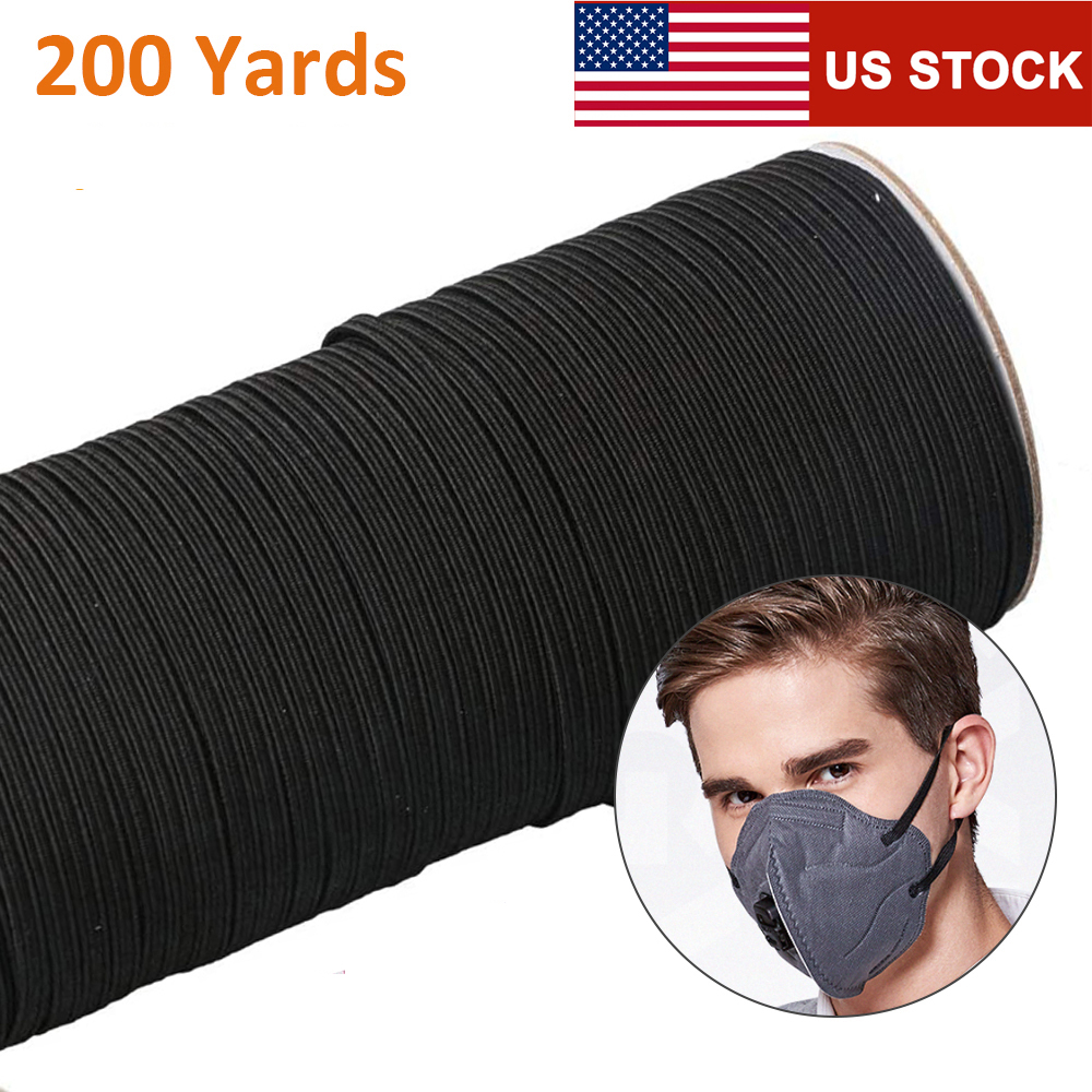 Large Stock USA 200 Yard Length DIY Braided Elastic Band Cord Knit Band Sewing 1/8